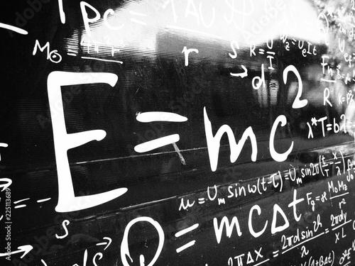 Photo EMC2 formula on blackboard