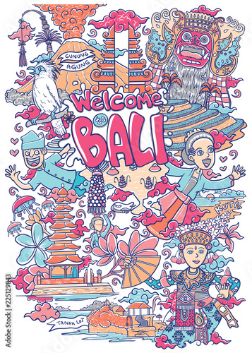 welcome to bali illustration Fototapete