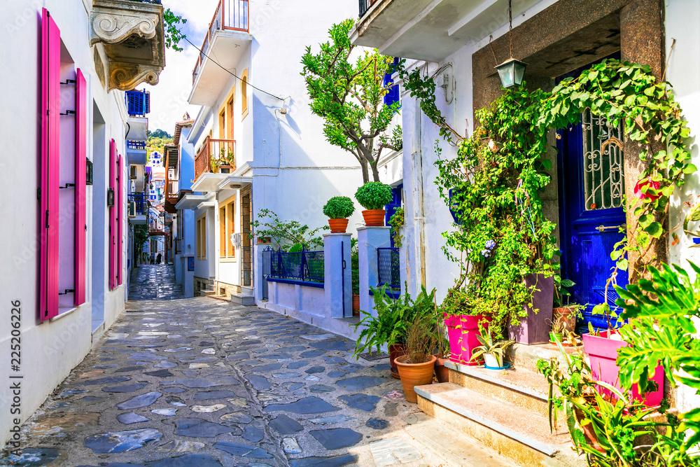 Urocze tradycyjne wąskie uliczki greckich wysp. Miasto Skopelos. <span>plik: #225206226 | autor: Freesurf</span>