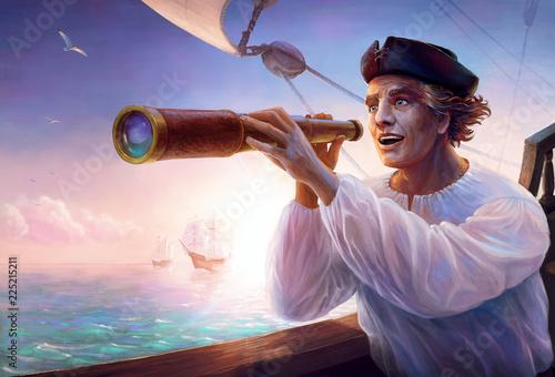 Canvas Portrait of discoverer Christopher Columbus
