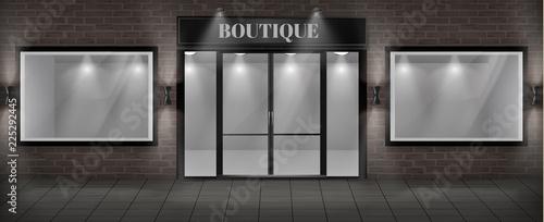Fotografia Vector concept background, boutique shop facade with signboard
