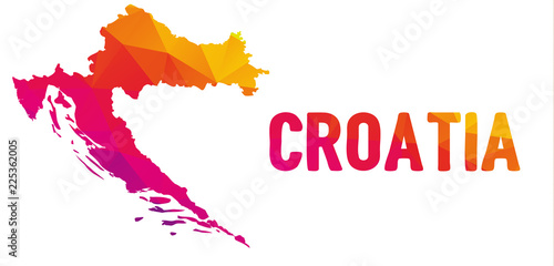 Wallpaper Mural Low polygonal map of the Republic of Croatia (Republika Hrvatska)  with sign Cro