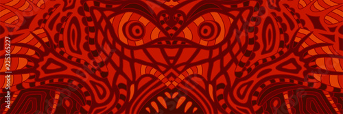 Obraz na płótnie Terrible red pattern with ugly demons face