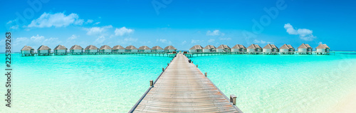 Obraz na plátne Overwater bungalow in the Indian Ocean