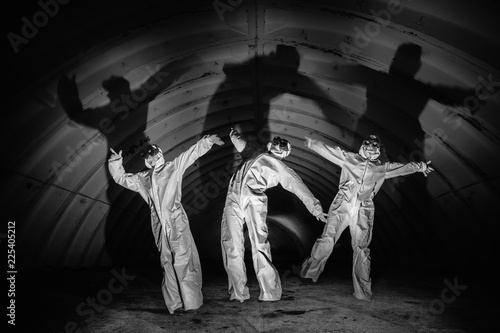 Wallpaper Mural Ghosts in dark tunnel of nuclear power plant
