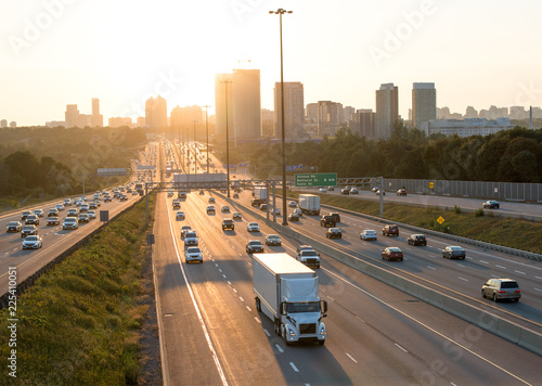 Obraz na plátne View of Highway 401 in Toronto Canada  at the sun