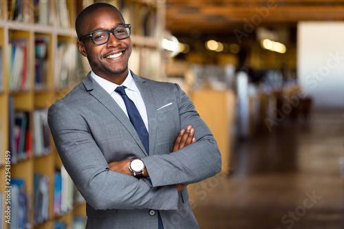 Obraz na płótnie Cheerful African American educator university professor, founder, administrator,