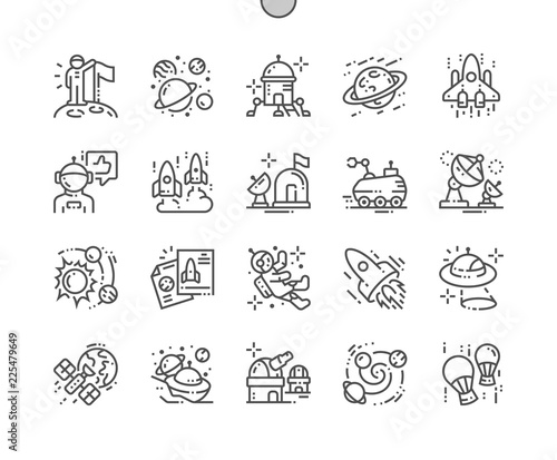 Photographie Space exploration Well-crafted Pixel Perfect Vector Thin Line Icons 30 2x Grid for Web Graphics and Apps