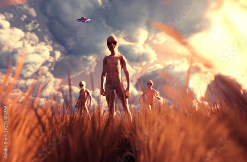 Fotografia An aliens in grass field,3D illustration concept background