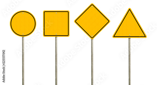 Photo Collection of blank yellow road sign or Empty traffic signs isolated on white background
