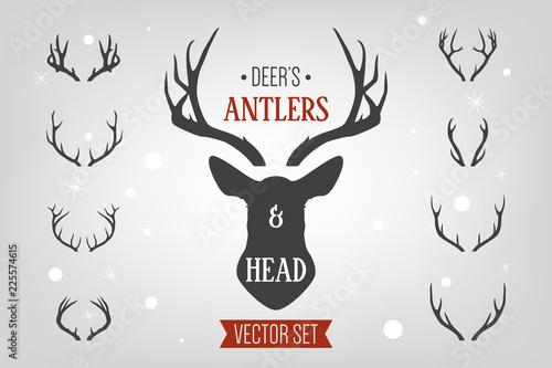 Fotografia Black silhouette hand drawn deer s horn, antler and head set