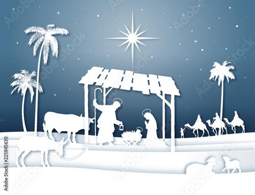 Leinwand Poster Soft shadows White Silhouette Christmas Nativity scene with Magi