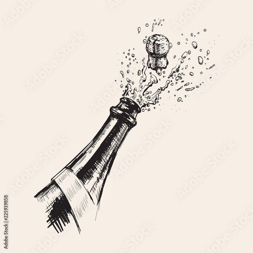 Canvas Print Hand drawn Illustration of Champagne explosion.
