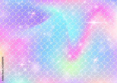 Canvas Print Rainbow scales background with kawaii mermaid princess pattern