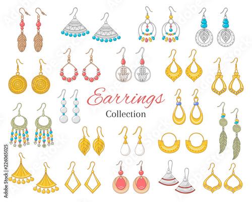 Vászonkép Fashionable earrings collection, vector illustration.