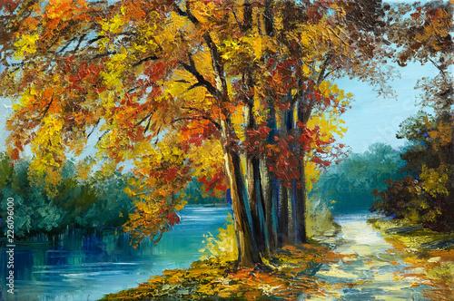 Oil painting landscape - autumn forest near the river, orange leaves, art work