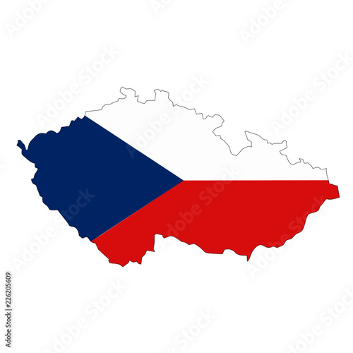 Wallpaper Mural Map country with flag of Czech Republic