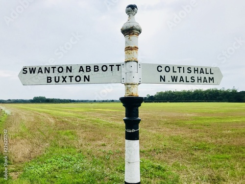 Photo Norfolk countryside fingerpost showing directions, Coltishall, Norfolk, UK