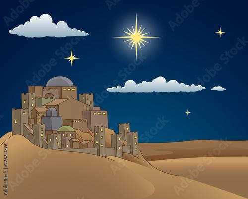 Fototapeta A Christmas nativity scene cartoon, with the City of Bethlehem and the star above