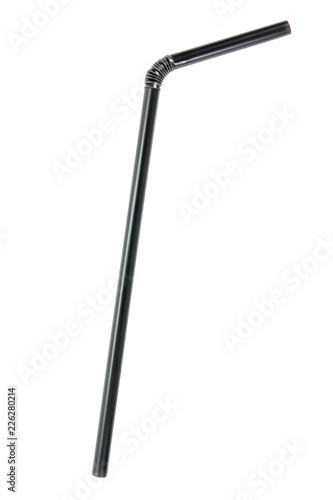 Bend black plastic drinking straw isolated on white background