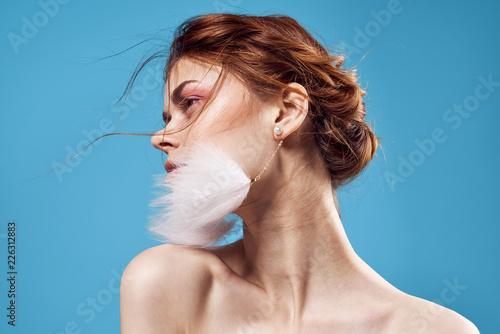 Stampa su Tela beautiful woman evening makeup fashion earrings