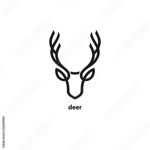 Fototapeta premium Ikona linii głowa jelenia. Ilustracji wektorowych.