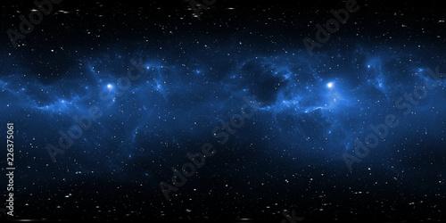 Panorama mgławicy kosmicznej 360 stopni, rzut prostokątny, mapa środowiska. Panorama sferyczna HDRI. Astronautyczny tło z mgławicą i gwiazdami