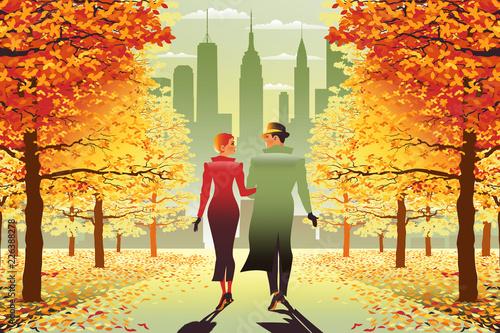 Fotografia, Obraz Loving couple in New York Central Park in the fall