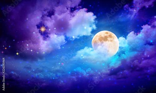 Canvas Print Full moon with stars at dark night sky .