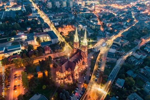 Obraz na plátně Aerial drone view on Basilica and city center in Rybnik.