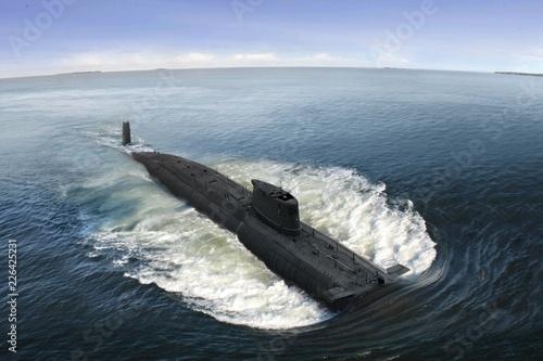 Canvas Print Naval submarine at  open sea