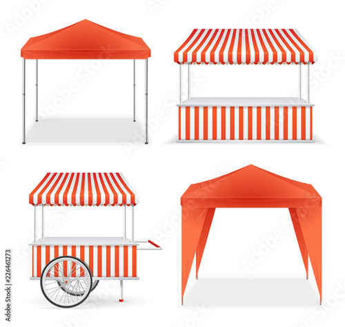 Stampa su Tela Realistic Detailed 3d Red and Striped Blank Market Stall Template Mockup Set
