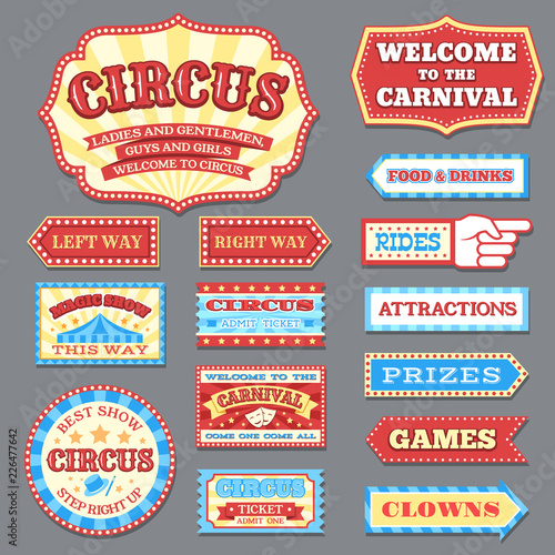 Foto Vintage circus labels and carnival signboards vector collection