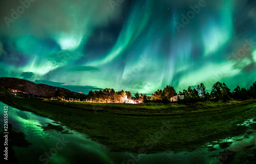 Camping under northern lights in Norway