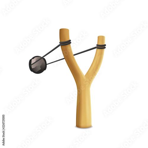 Valokuva Realistic Detailed 3d Slingshot Danger Toy. Vector