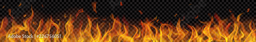 Fotografie, Obraz Translucent long fire flame with horizontal seamless repeat on transparent background