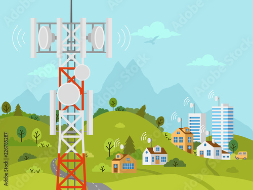 Leinwand Poster Cellular transmission tower in front of landscape