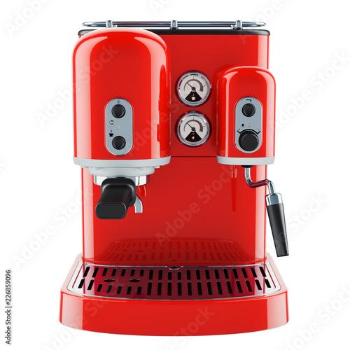 Foto Red coffeemaker or coffee machine retro design. 3D rendering