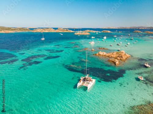 Obraz na płótnie Drone aerial view of catamaran sailing boat in Maddalena Archipelago, Sardinia, Italy