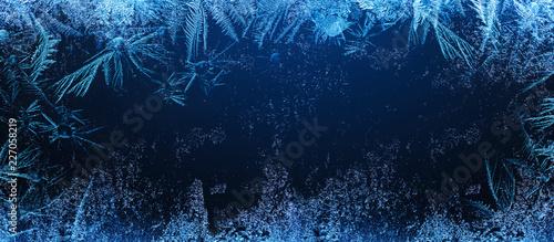 Obraz na płótnie Frosty Natural Pattern on Winter Window