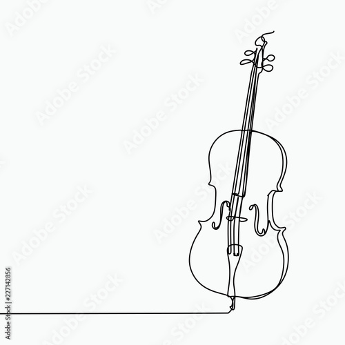 Foto Cello vector with one line art drawing.