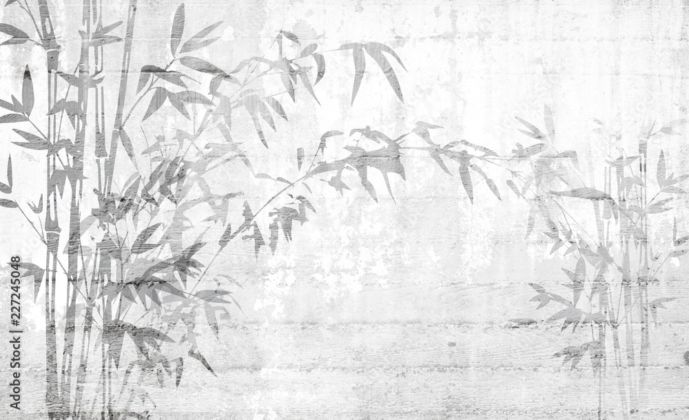 Bamboo leaves shadow on concrete wall, good for interior deisgn