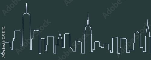 Jednoliniowa linia horyzontu w Nowym Jorku