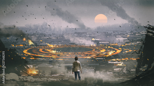Valokuva post apocalypse scene showing the man standing in ruined city and looking at mys