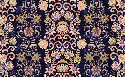 Fotografie, Obraz Seamless vector ornament with oriental pattern with hand draw flowers