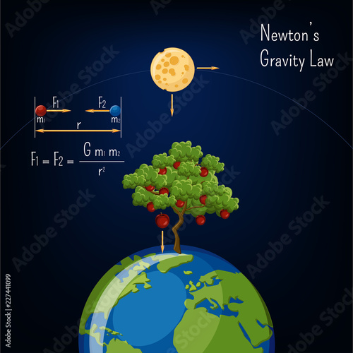 Tablou Canvas Newton's Gravity law infographic with Earth globe, moon, apple tree and basic diagram