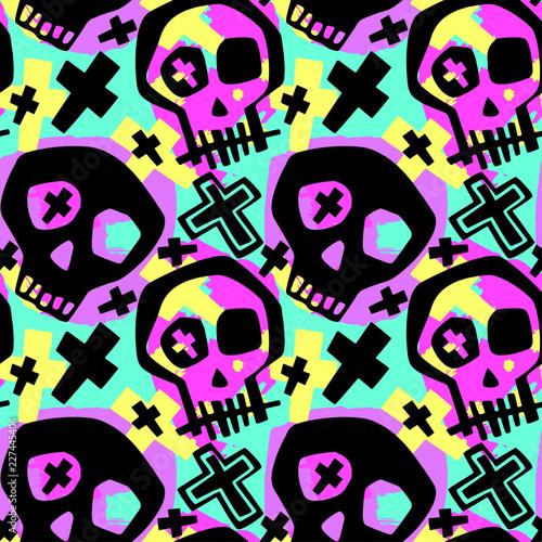 Photo Skull funky boys and girls apparel modern print.