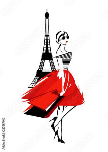 Fototapeta beautiful fashion woman in Paris - french fashionista with shopping bags and eif