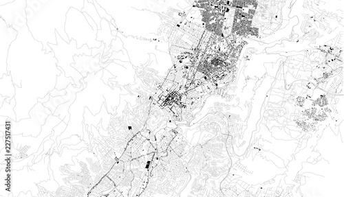 Fotografie, Obraz Mappa satellitare di Quito, Ecuador, strade della città