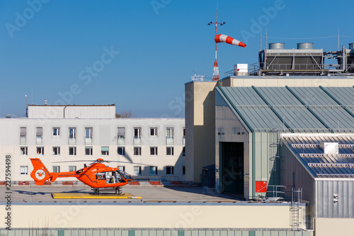 rescue helicopter at station on standby, waiting for operation